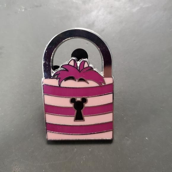 SOLD Cheshire cat handbag pin